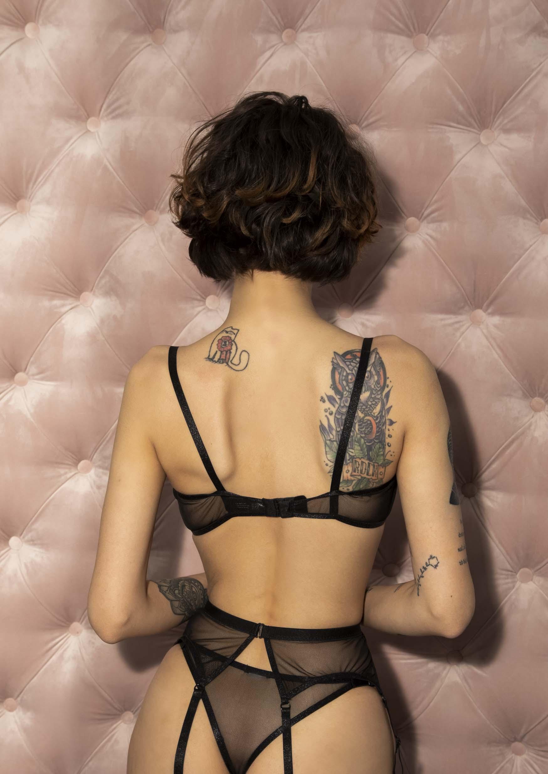 Poema lingerie set transparent sexy black lingerie with garter belt
