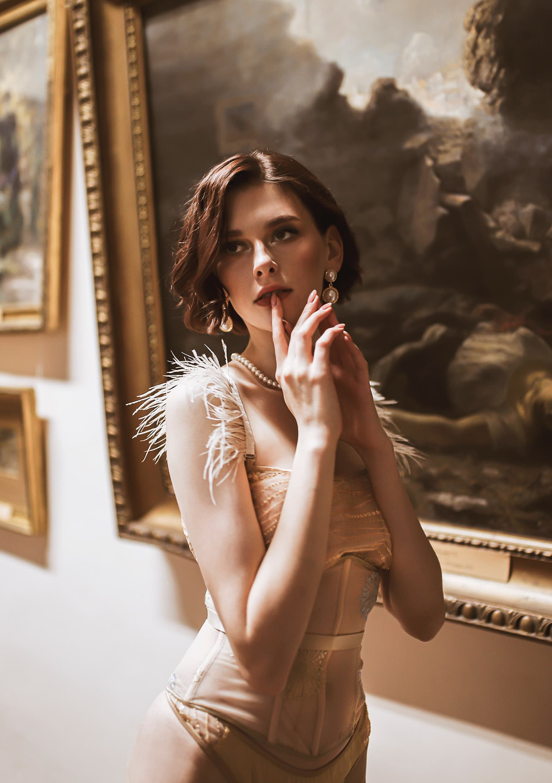Lingerie silk ART CAPSULE your musa Gold Sparkle Set la musa playful Gold