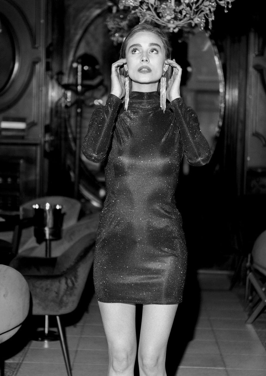 Black Firework Eveningwear Dress lurex your musa Сastel chic party