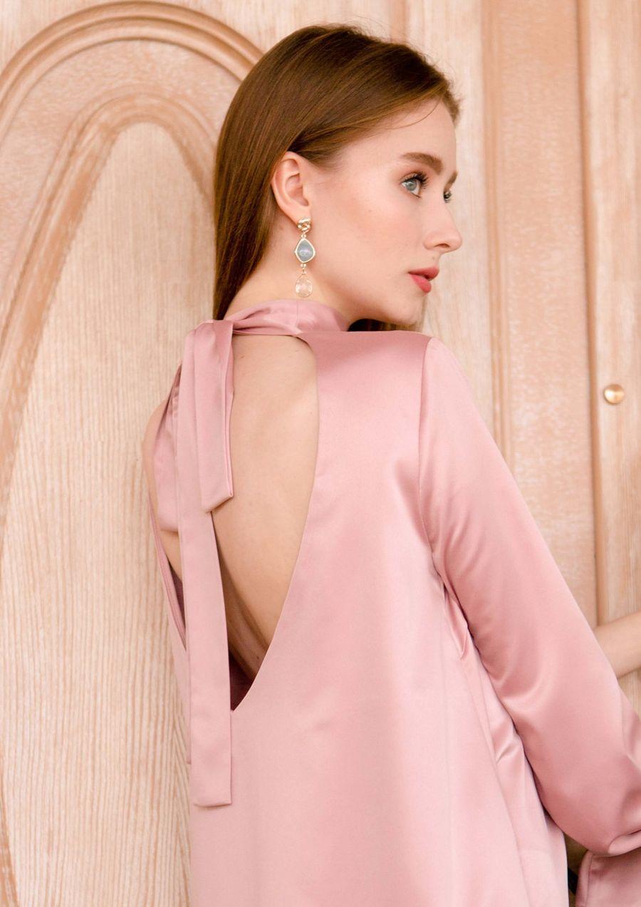 Pearl Dress Eveningwear satin your musa Сastel long set-in sleeve