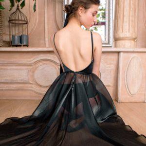 Black ballerina Eveningwear Dress satin organza your musa Сastel evening dress open back