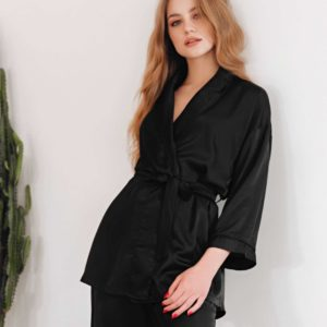 Loungewear silk Black Lounge your musa pants and long sleeve kimono la musa chic outfit