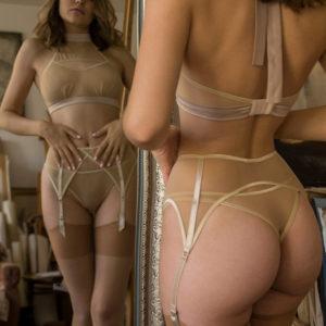 Lingerie silk ERATO your musa Caramel la musa Nude Beige