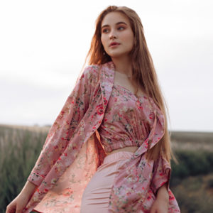 Loungewear silk Pink Blossom your musa work from home la musa
