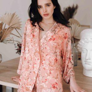Loungewear silk Pink Blossom kimono your musa flower mood la musa