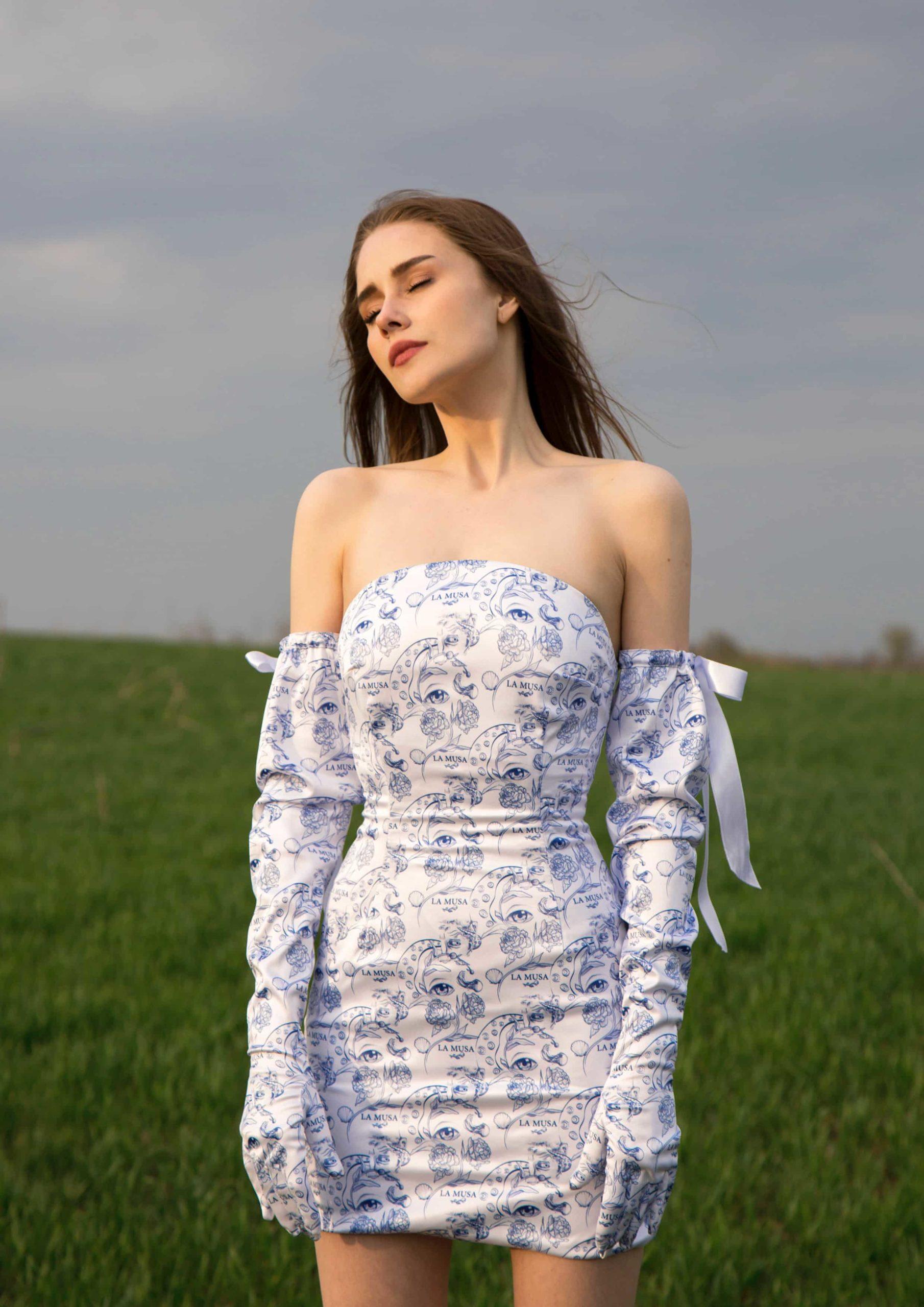porcelian dress La Musa evening wear