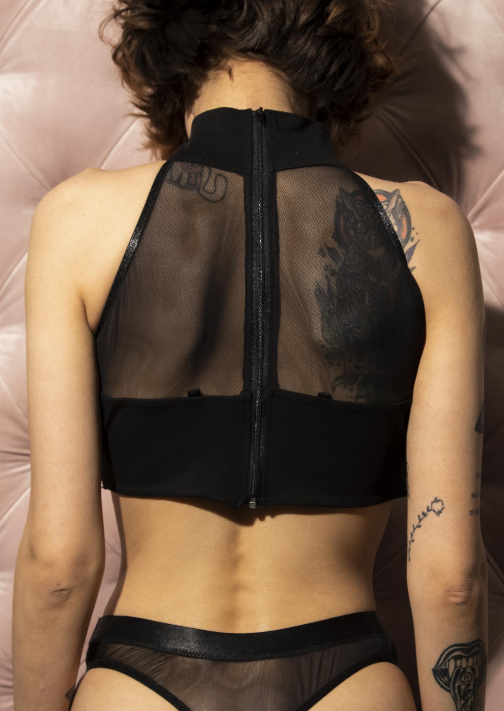 Reflection lingerie set sexy black transparent underwear for women