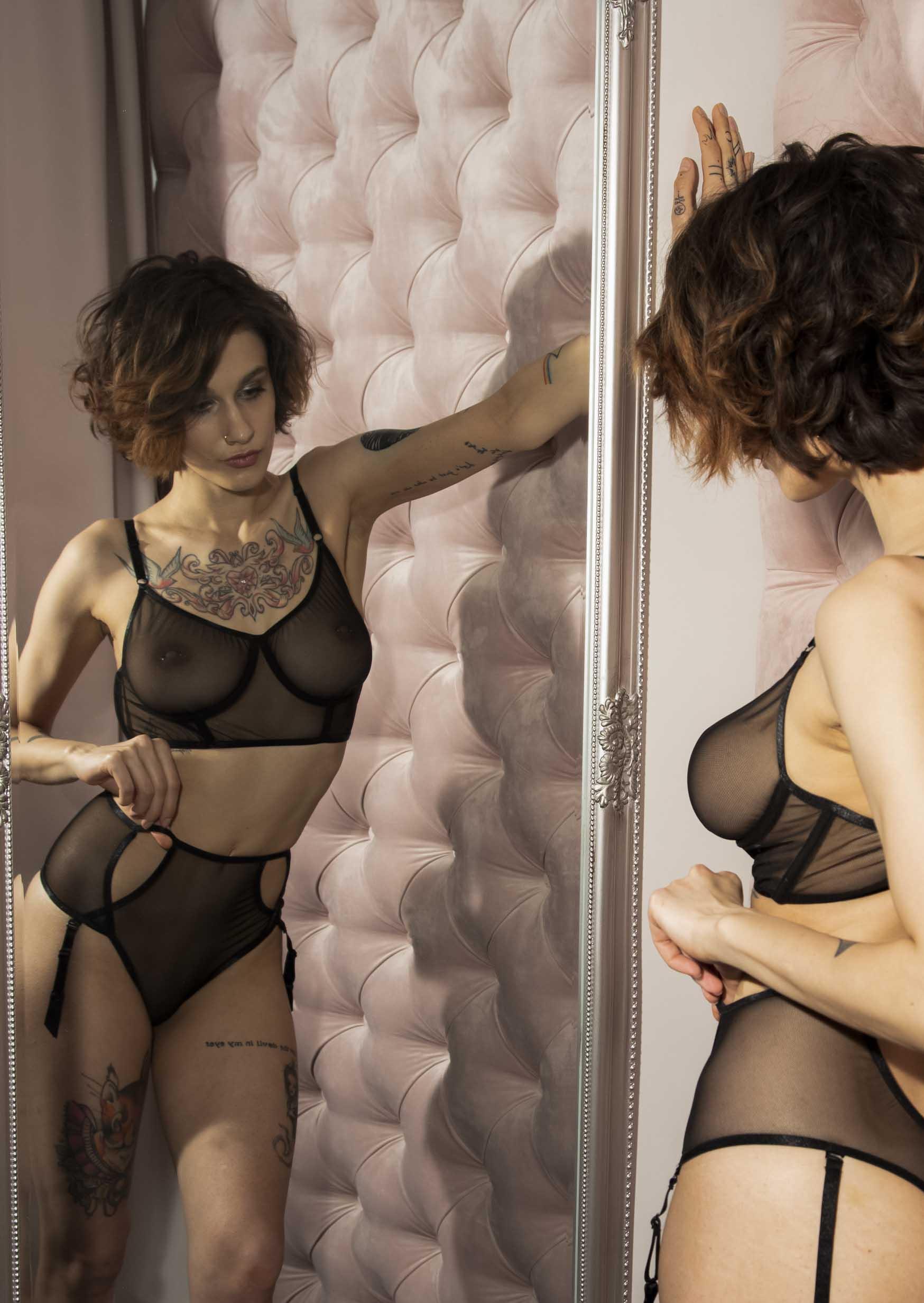 Sonata lingerie set erotic clear black lingerie with straps