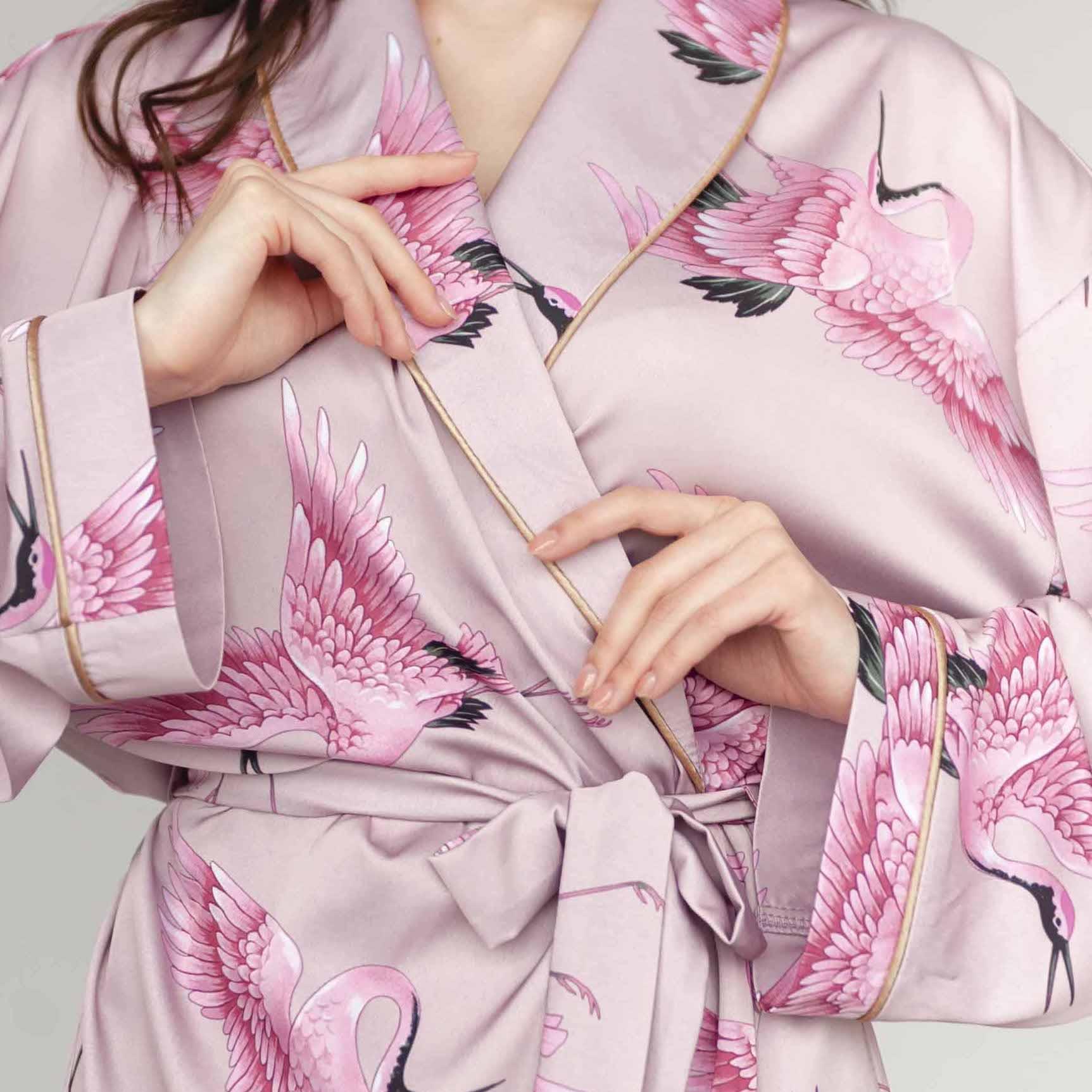 rose gold bird fashion loungewear homewear silk