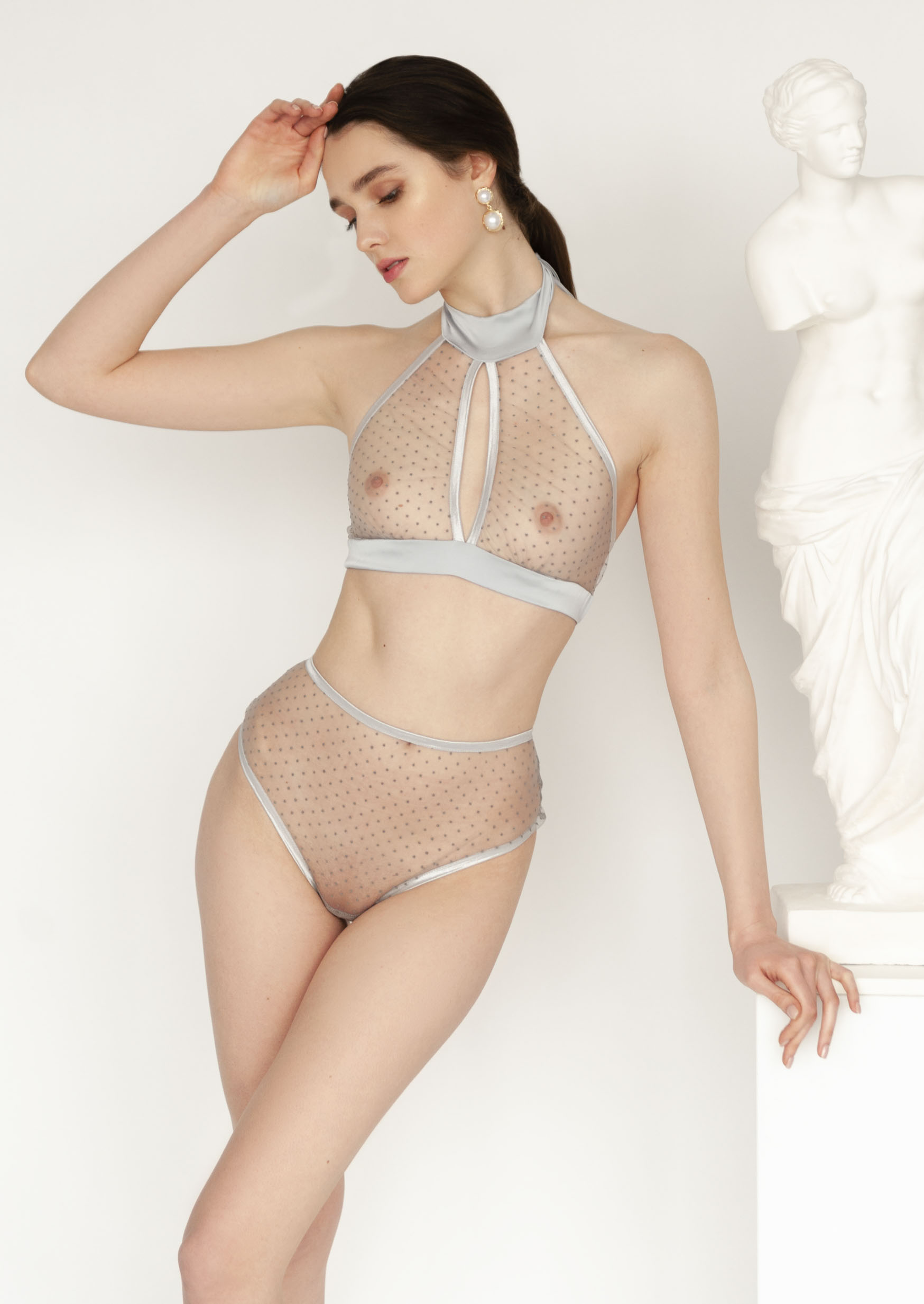Sexy grey polka dot lingerie set clear panties with underwired bra