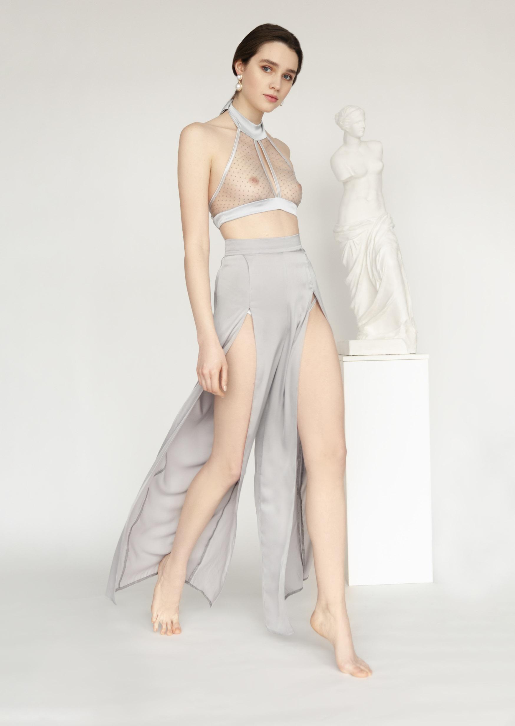 Silk step pants satin sleep pants with deep slits on both legs
