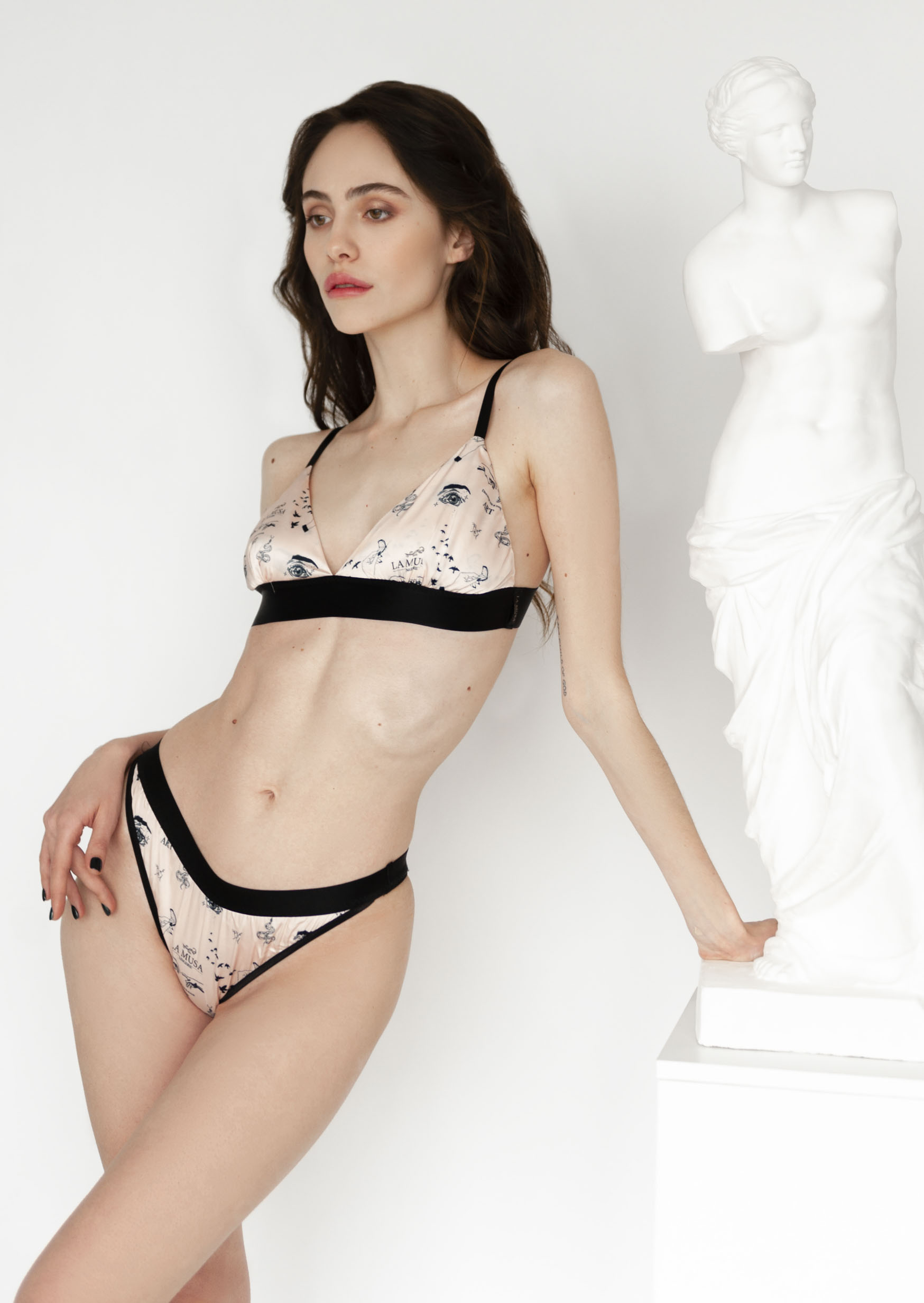 Pink and black erotic lingerie set sexy tattoo print lingerie