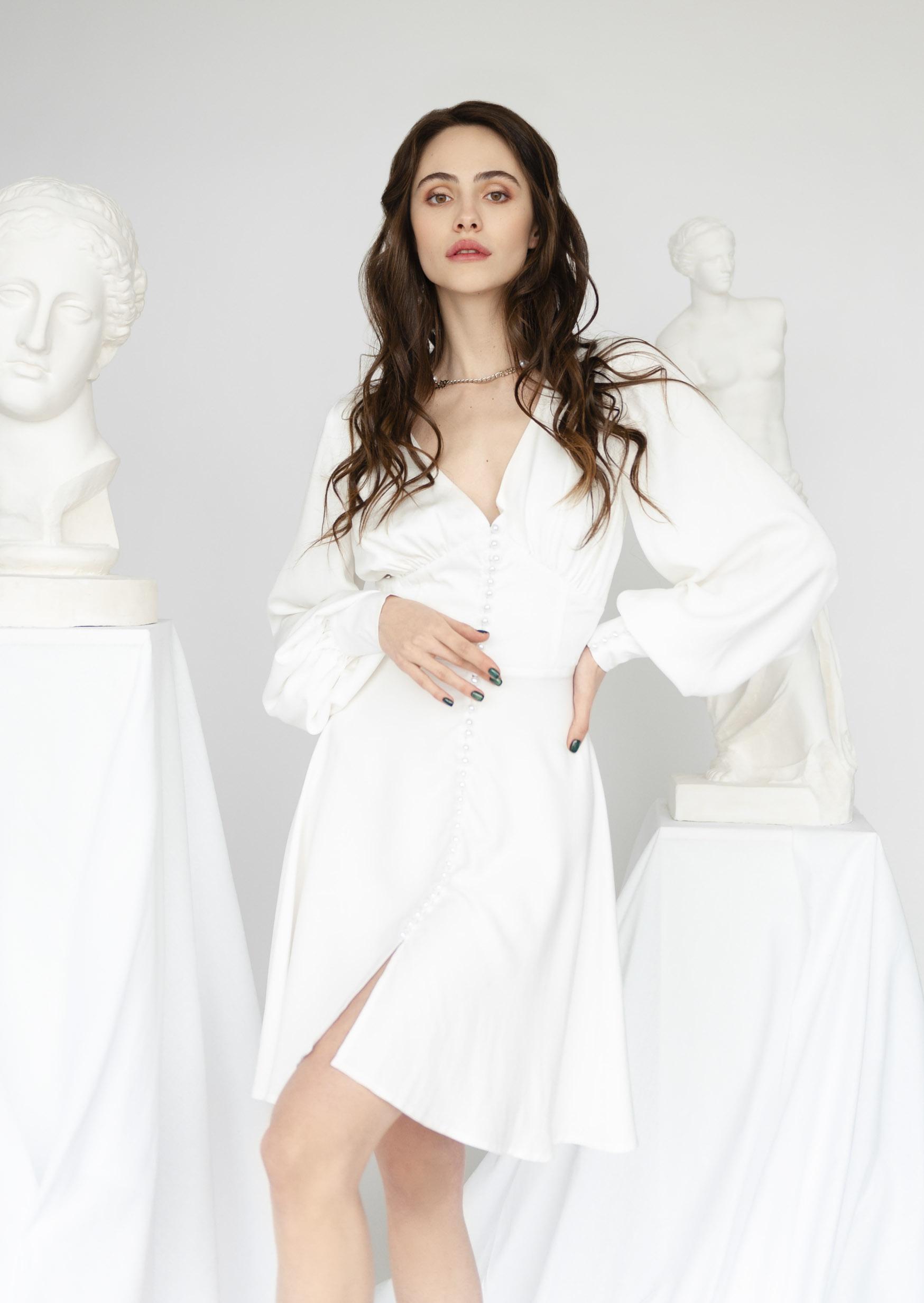Pearl passion dress white v neckline corset dress
