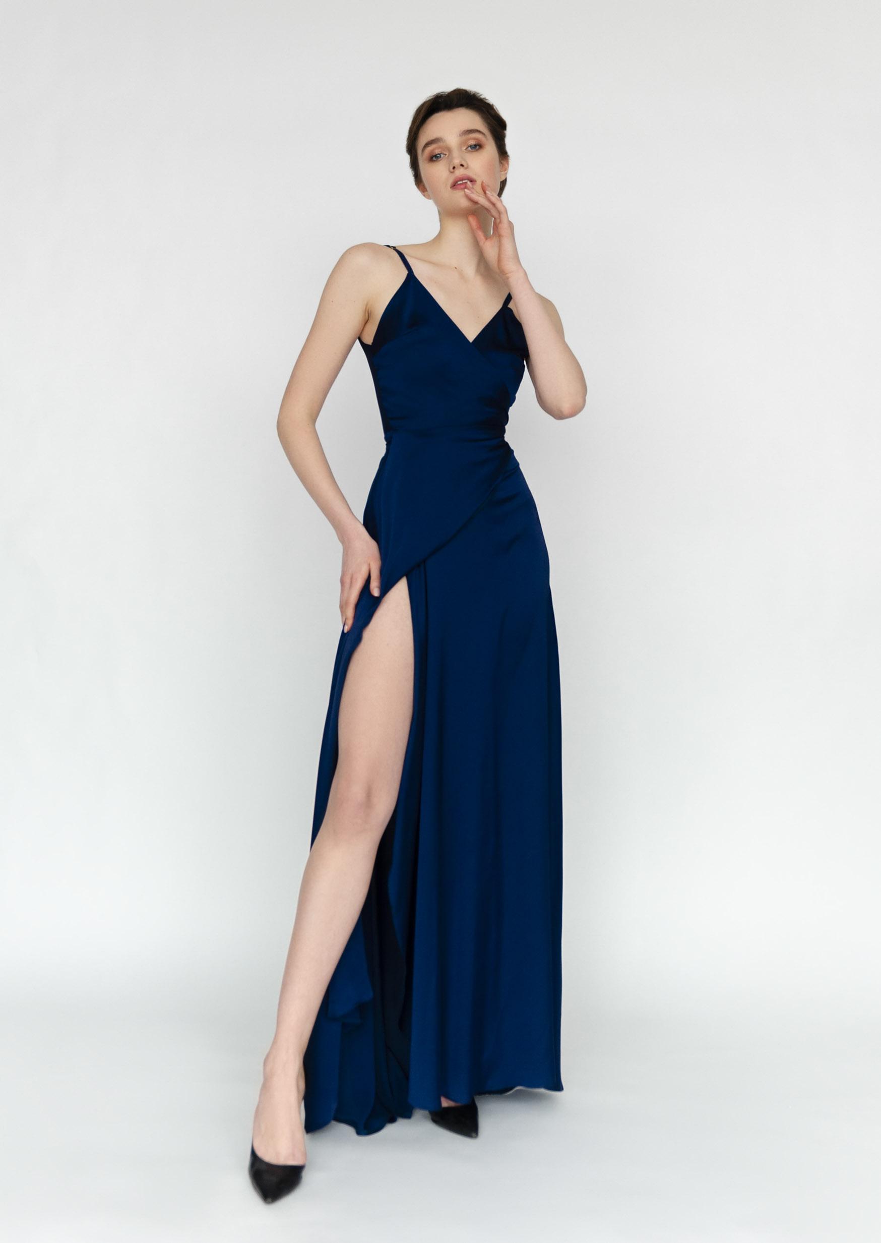 Midnight sky dress long asymetrical silk slip dress blue deep neckline grecian goddess dress