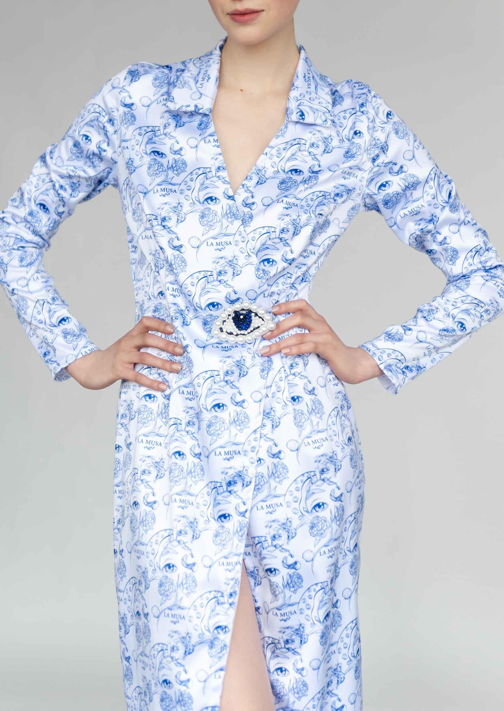 Porcelain suit-dress white blue mini date costume