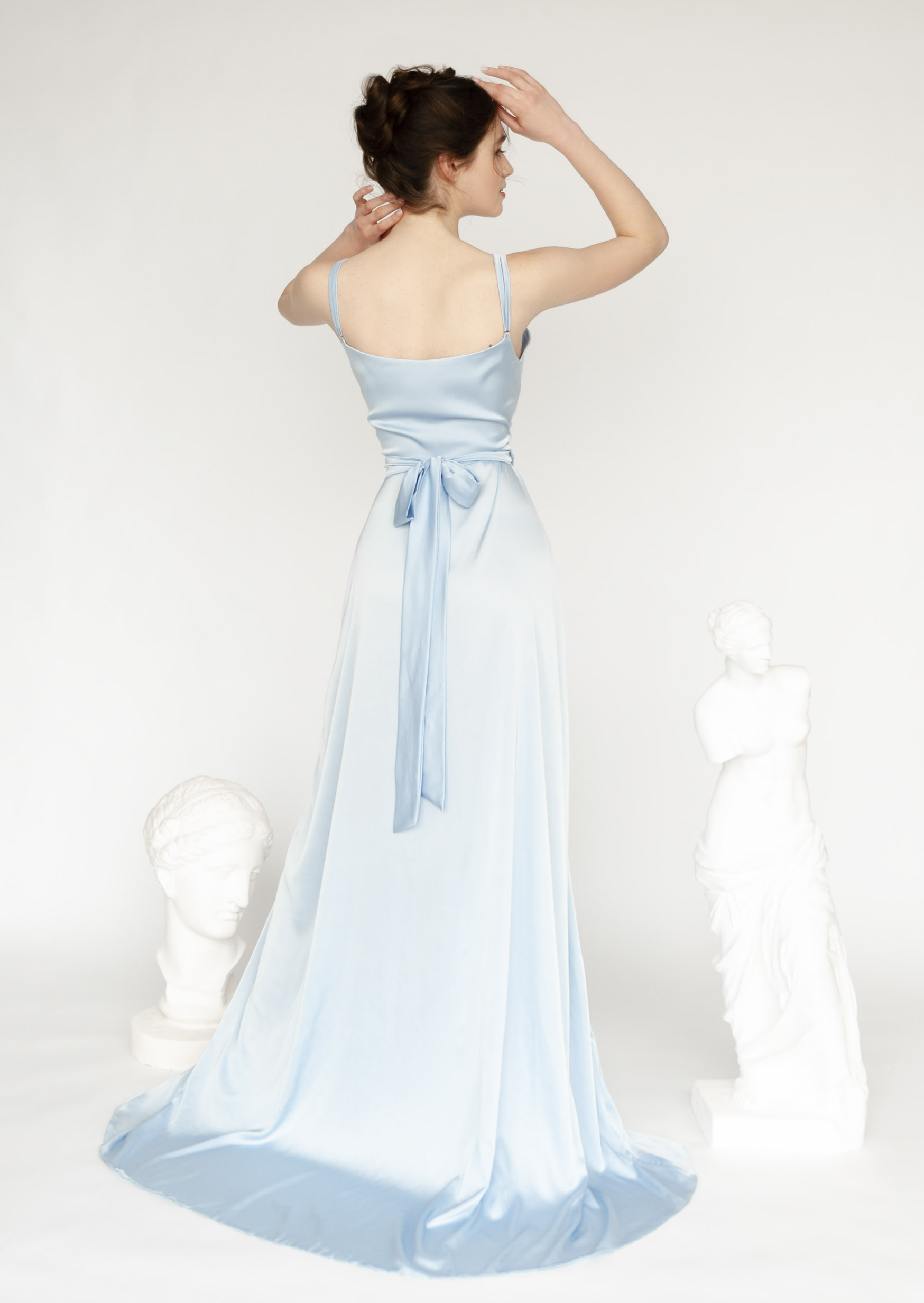 Sky blue dress long wrap halter slip bridesmaid dress