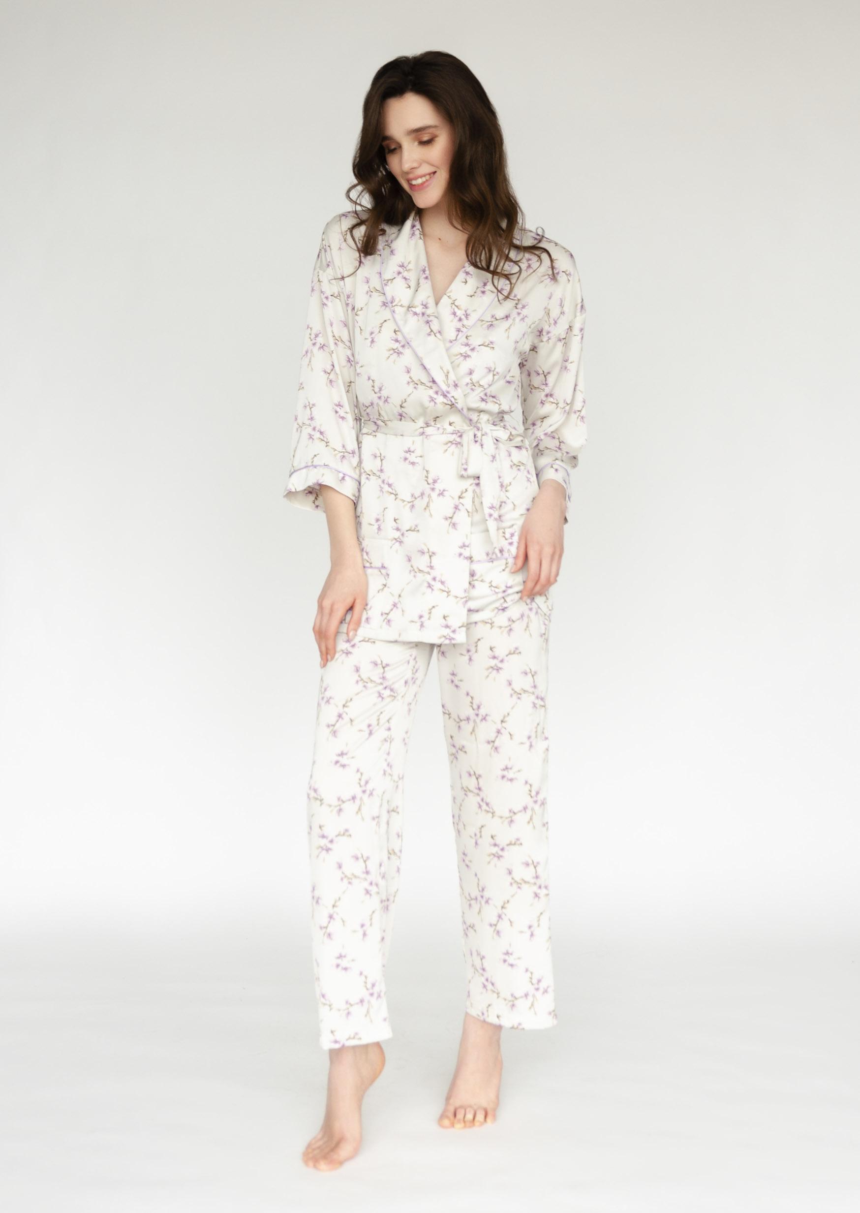 Lavender harmony loungewear set grey elegant satin pattern wear