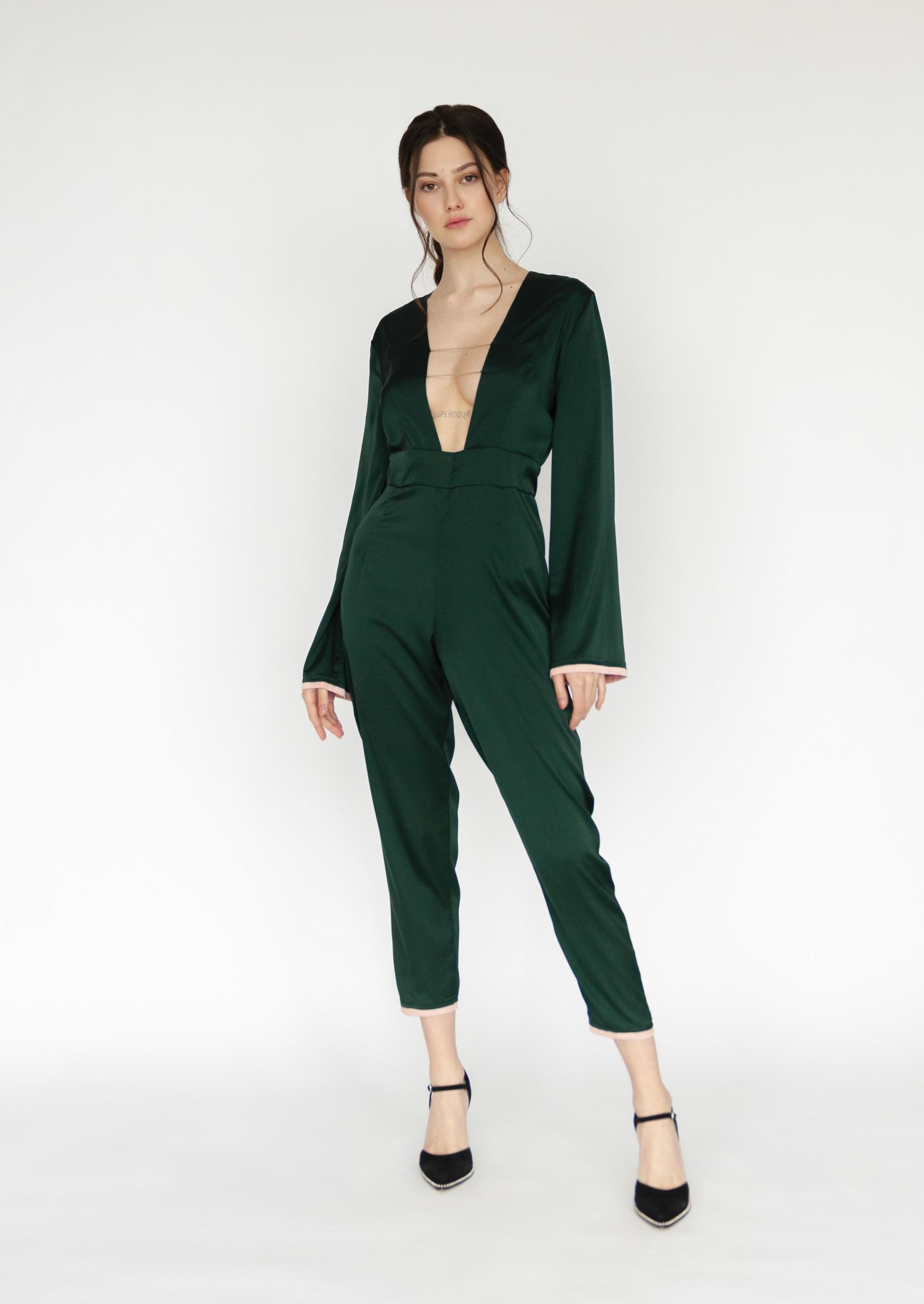 Emerald silk jumpsuit green sexy bodysuit with belt