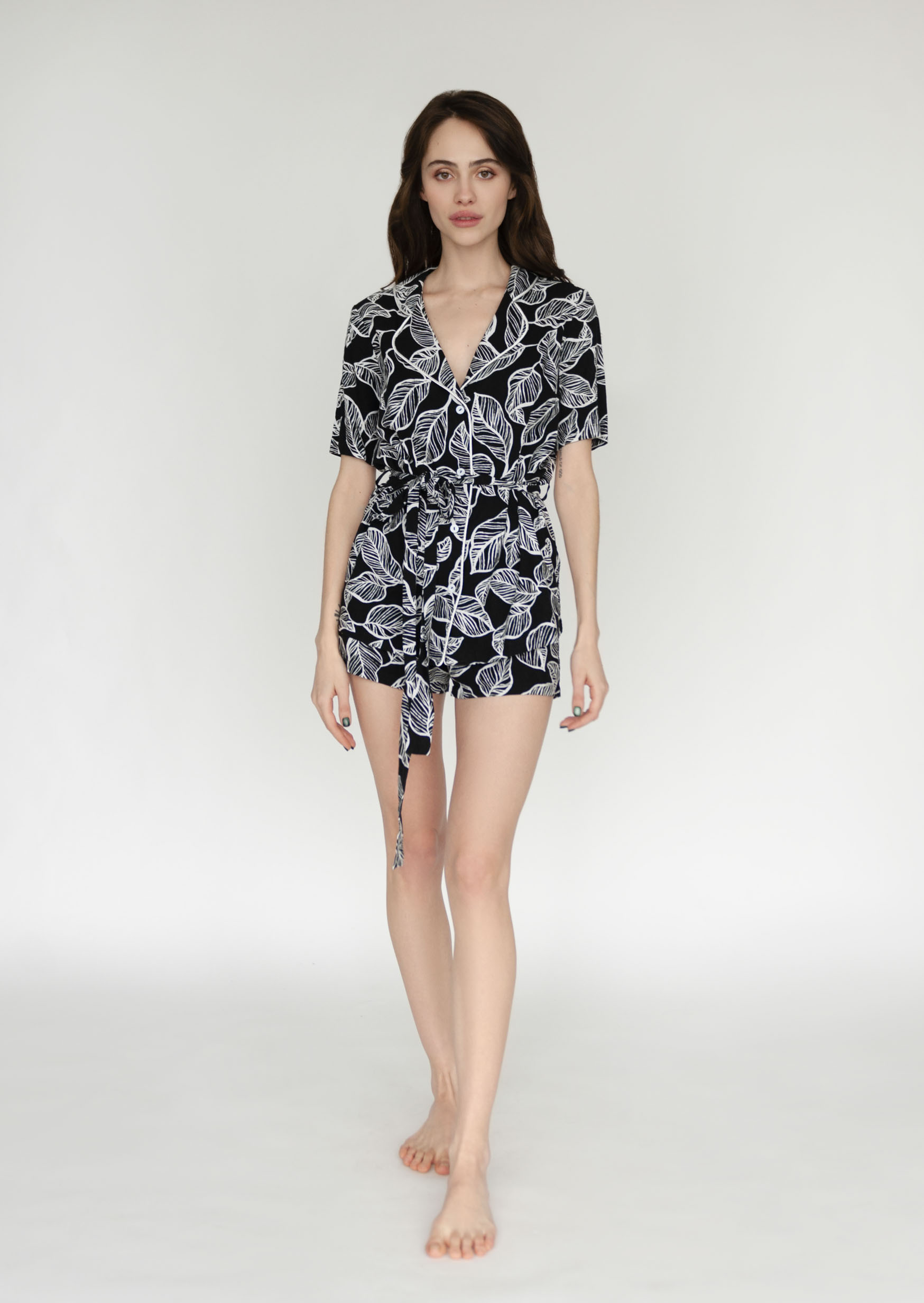 Botanical tattoo loungewear set black organic pajama set with pattern