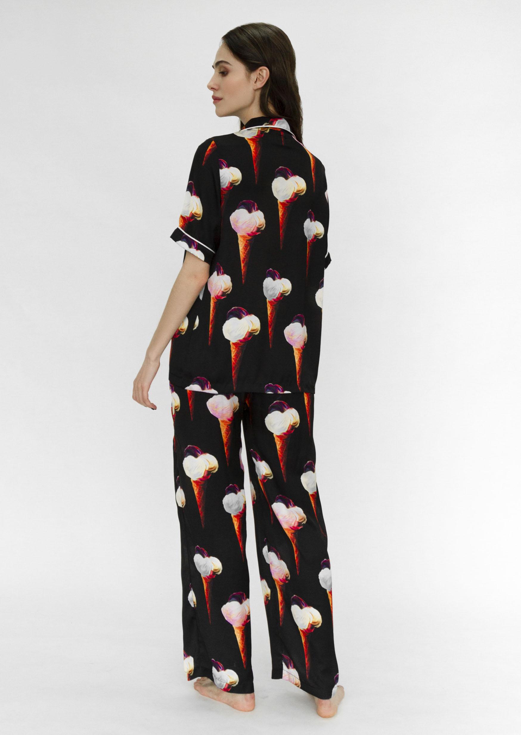 Ice-cream party loungewear set black organic pajama set with print