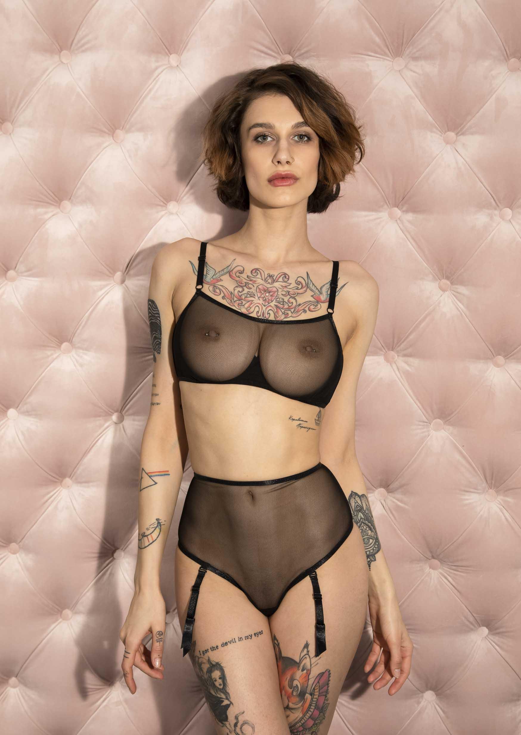 Euphoria lingerie set transparent sexy black lingerie with garter belt