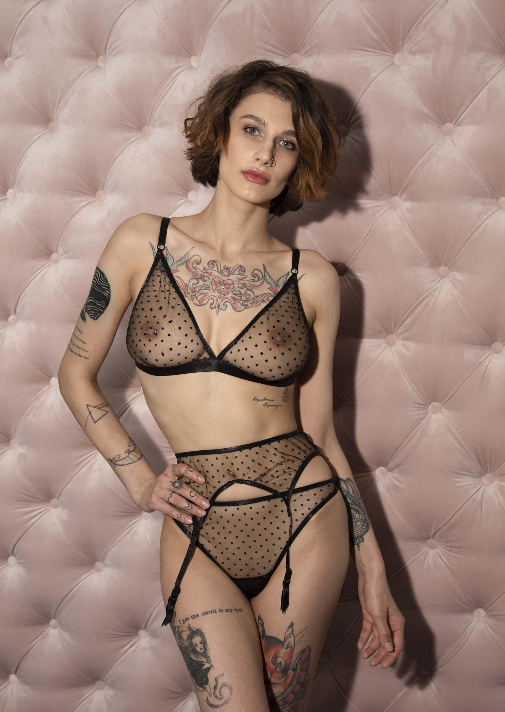 Flirt lingerie set сlear black lingerie with polka dot with garter belt