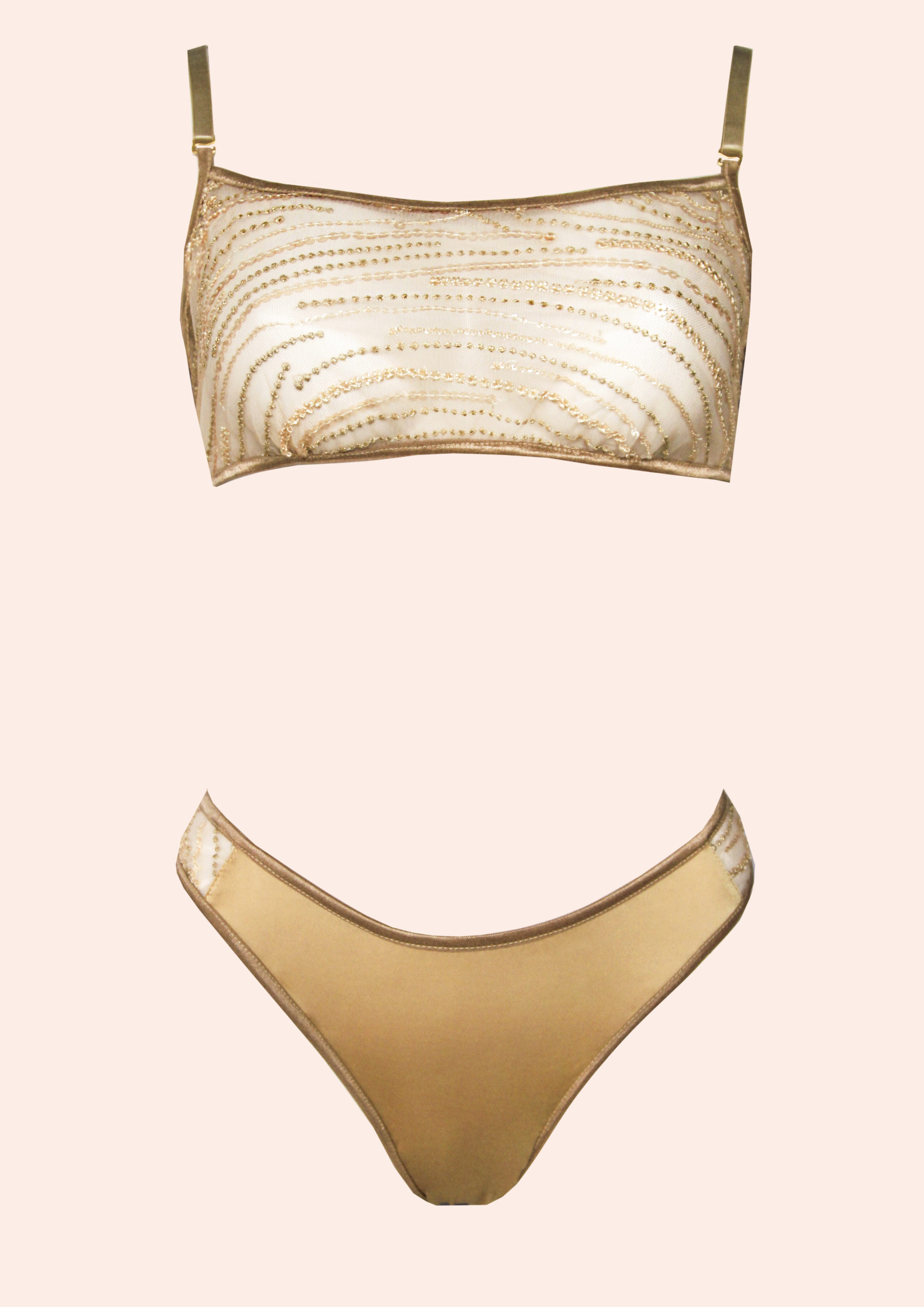 Gold sparkle new lingerie art fashion style