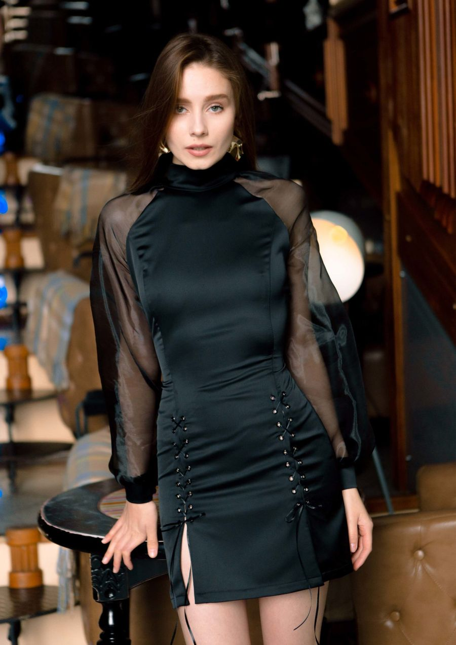 Black ink Eveningwear Dress silk organza your musa Сastel total black look