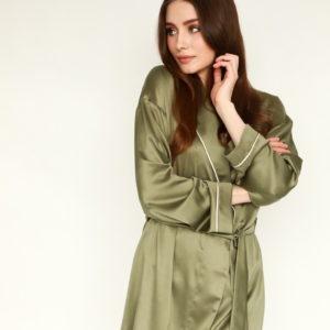 Pistacchio ice-cream loungewear set olive satin kimono with feathers