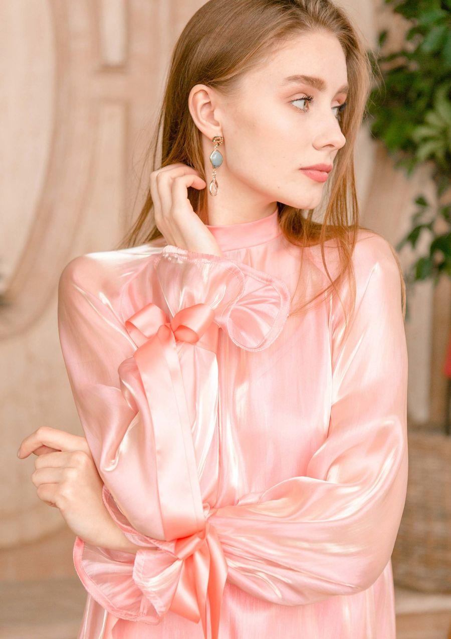 Rose Petal Eveningwear Dress silk organza your musa Сastel cute bow