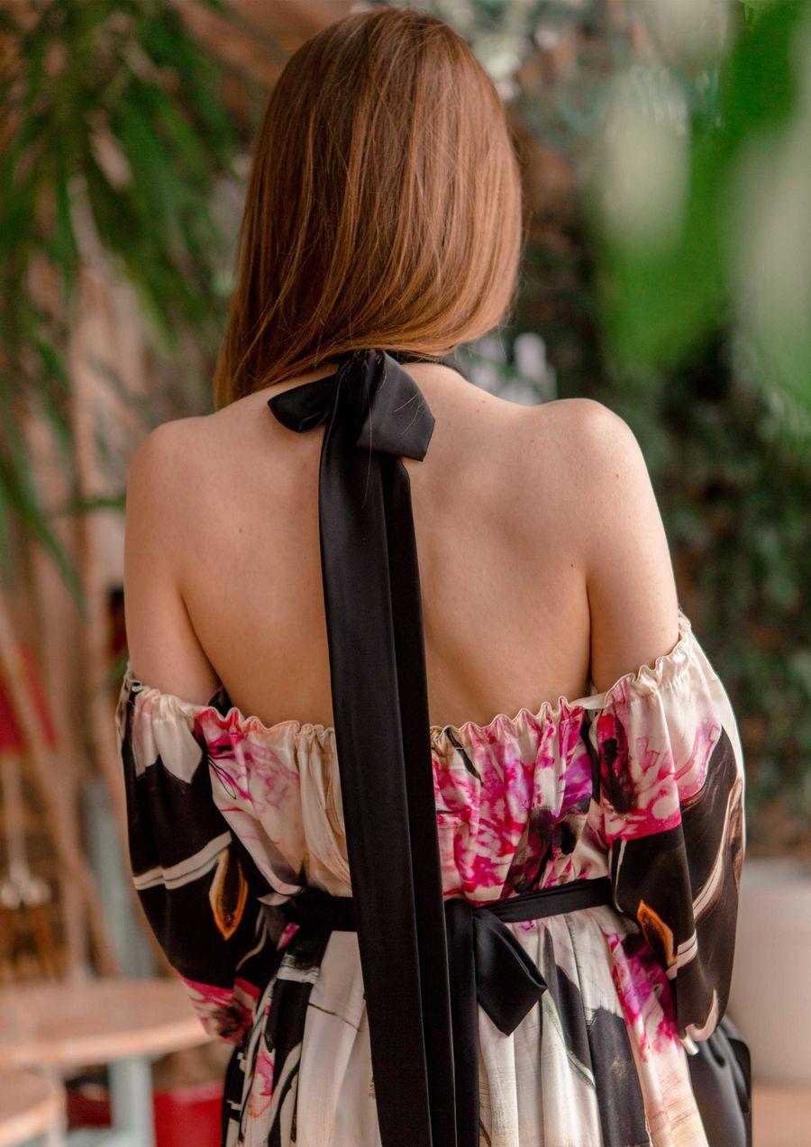 watercolored flower Eveningwear Dress silk your musa Сastel nature motives