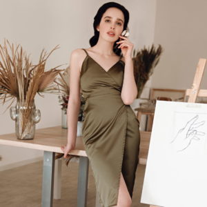 Golden olive Eveningwear Dress satin silk your musa Сastel soft mood