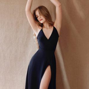 Midnight sky Eveningwear Dress silk your musa Сastel laconic night sky