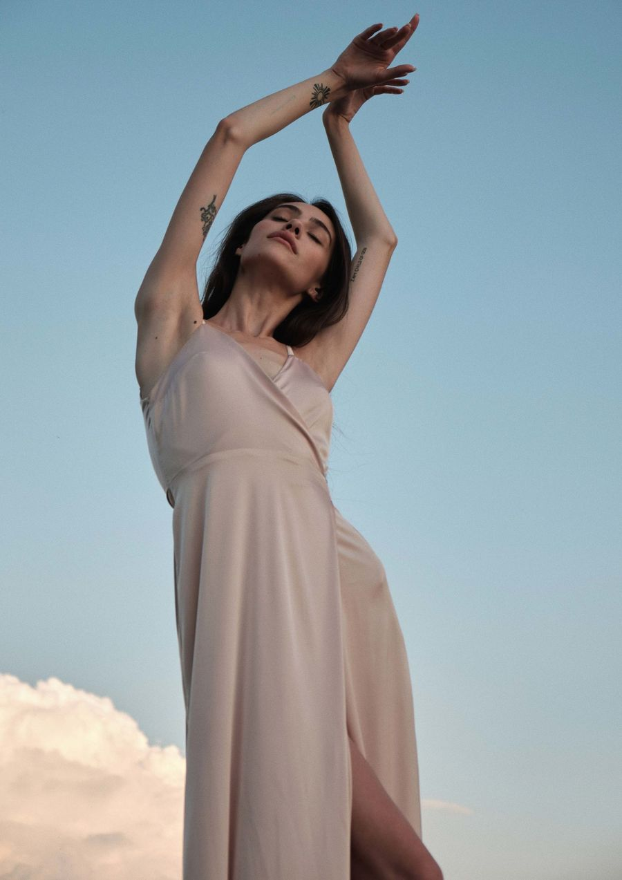 Sunrise Sky Dress Eveningwear Dress silk your musa Сastel comfy long