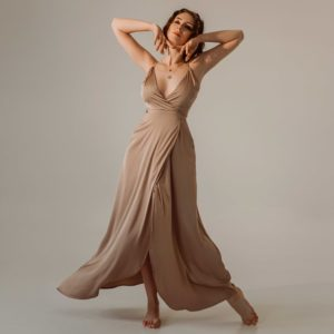 Sunset sky Eveningwear Dress silk your musa Сastel comfy long