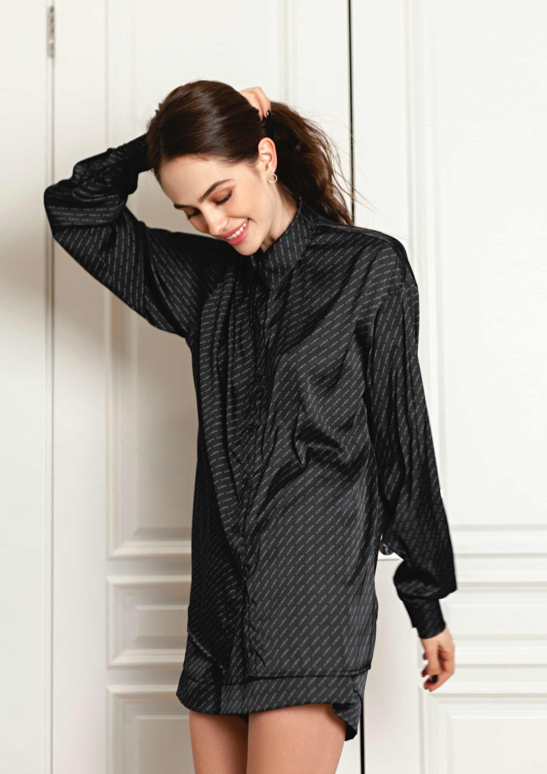 Black Muse Loungewear Set La musa elegant Silk satin