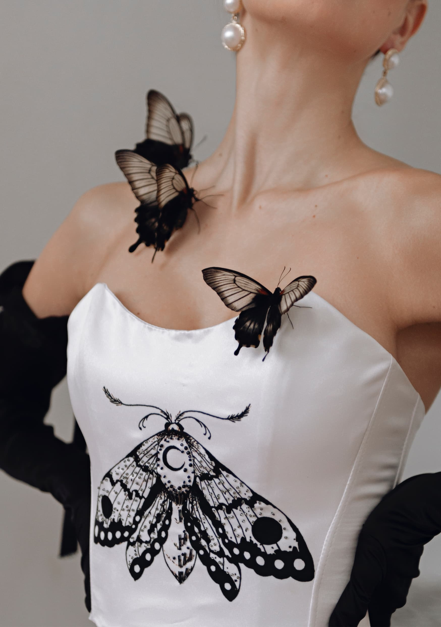 Graphic butterfly moon corset love photo art style fashion