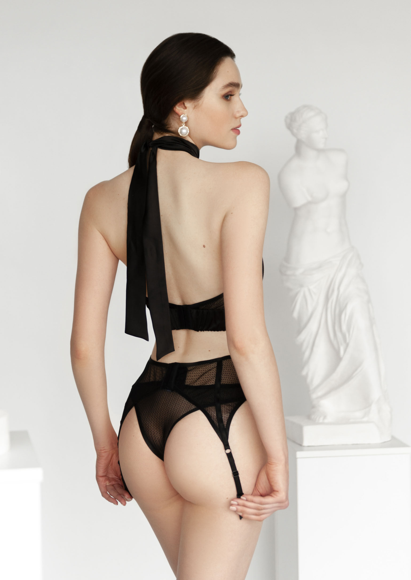 Mystery lingerie set sexy black strappy lingerie with garter belt