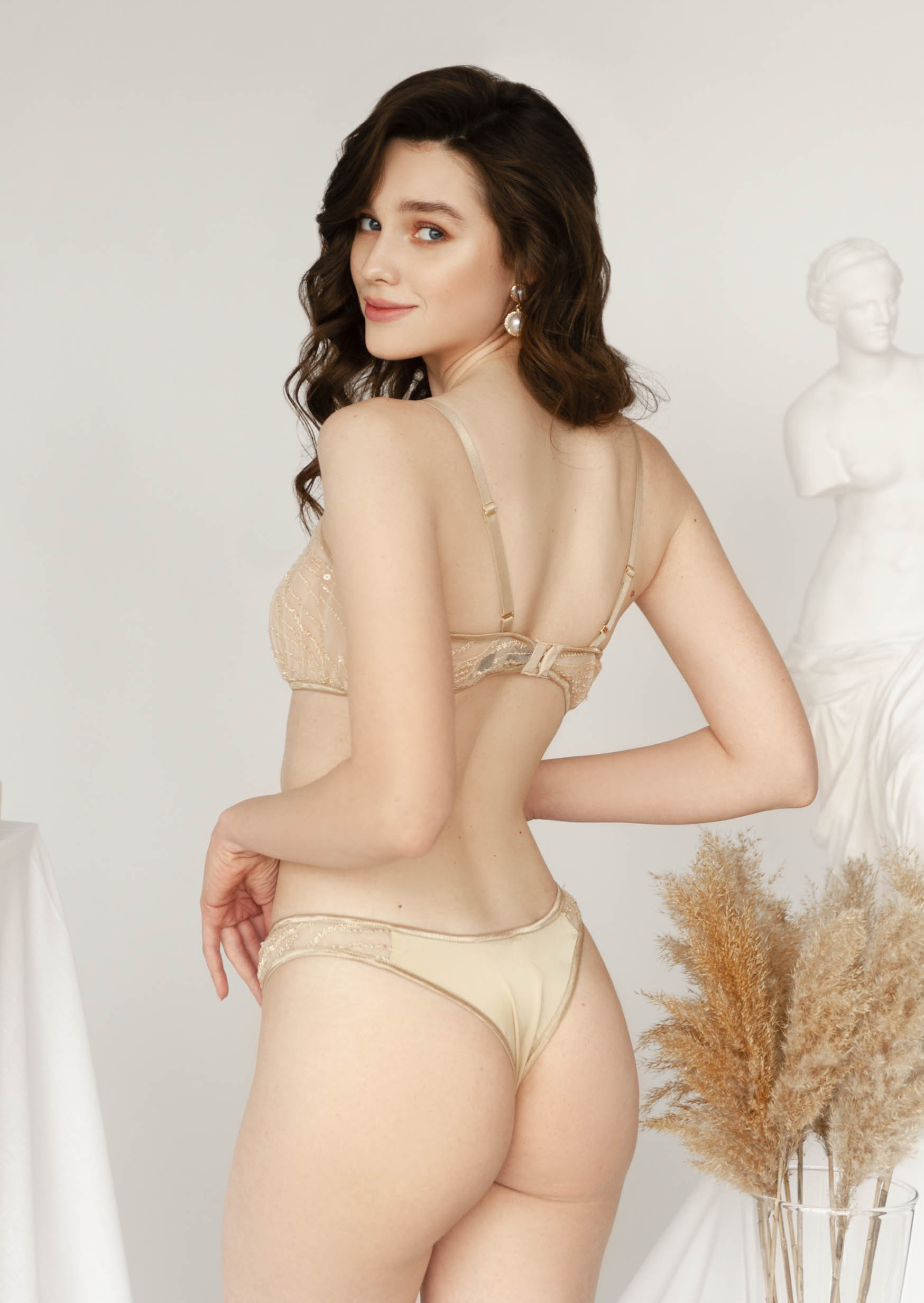 Golden sparkle lingerie set transparent lingerie with straps