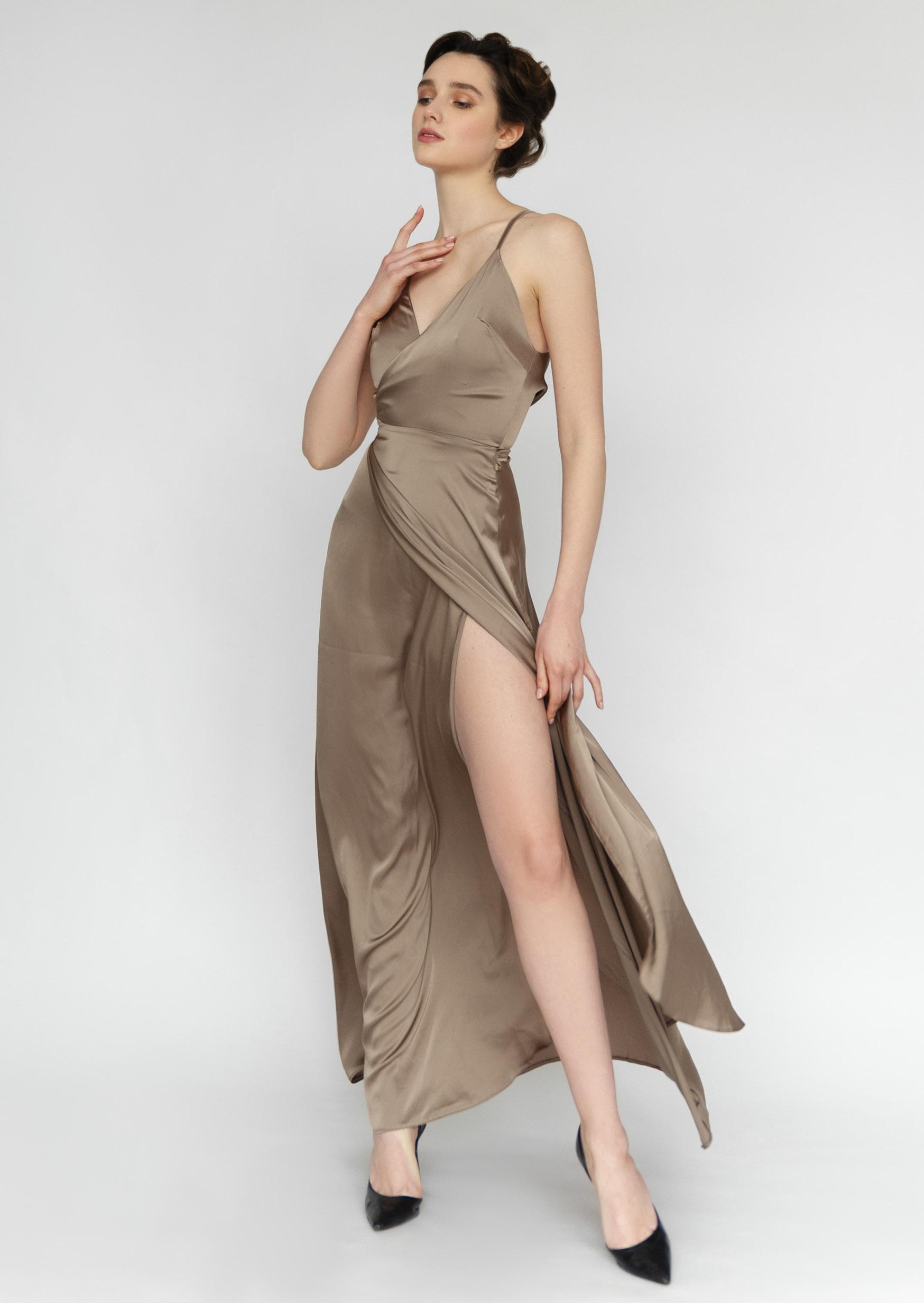 Sunset sky dress long asymetrical silk slip dress