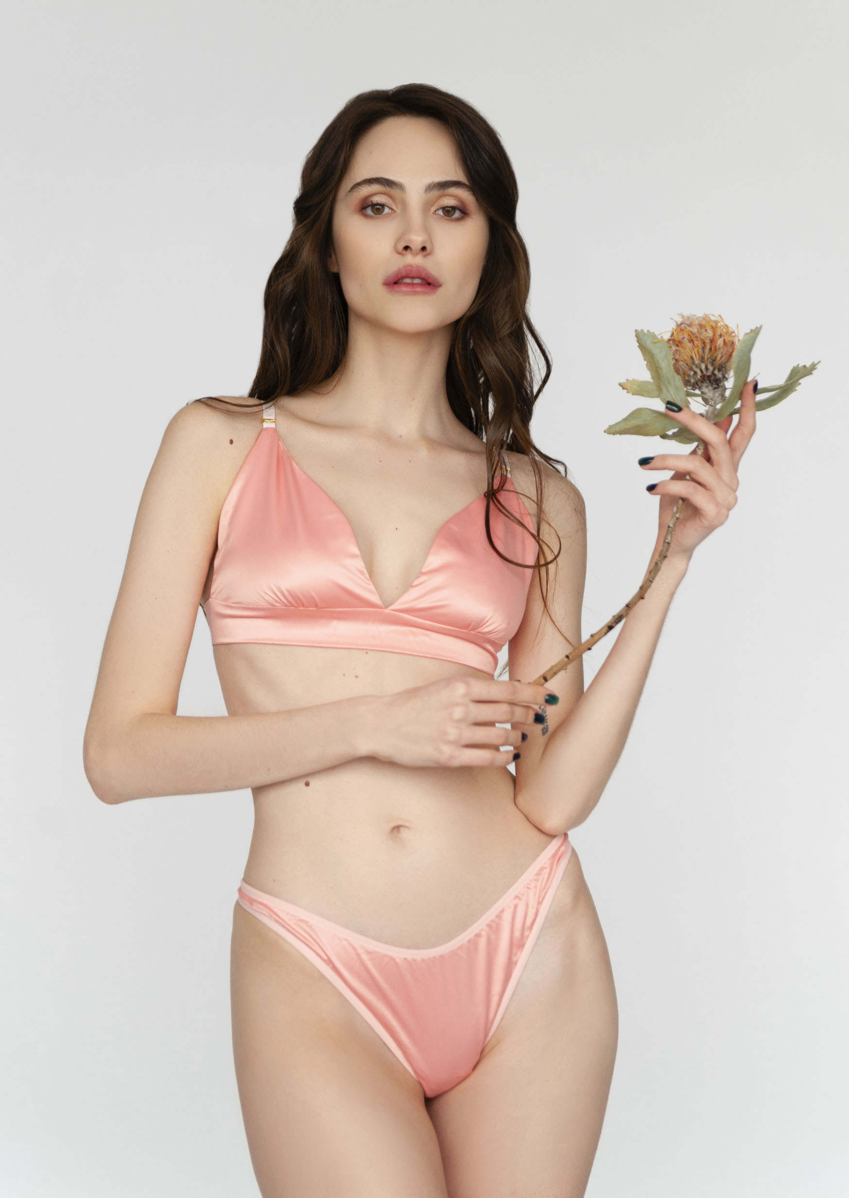 Tropical peach lingerie set rose satin non wired triangle bra with thong