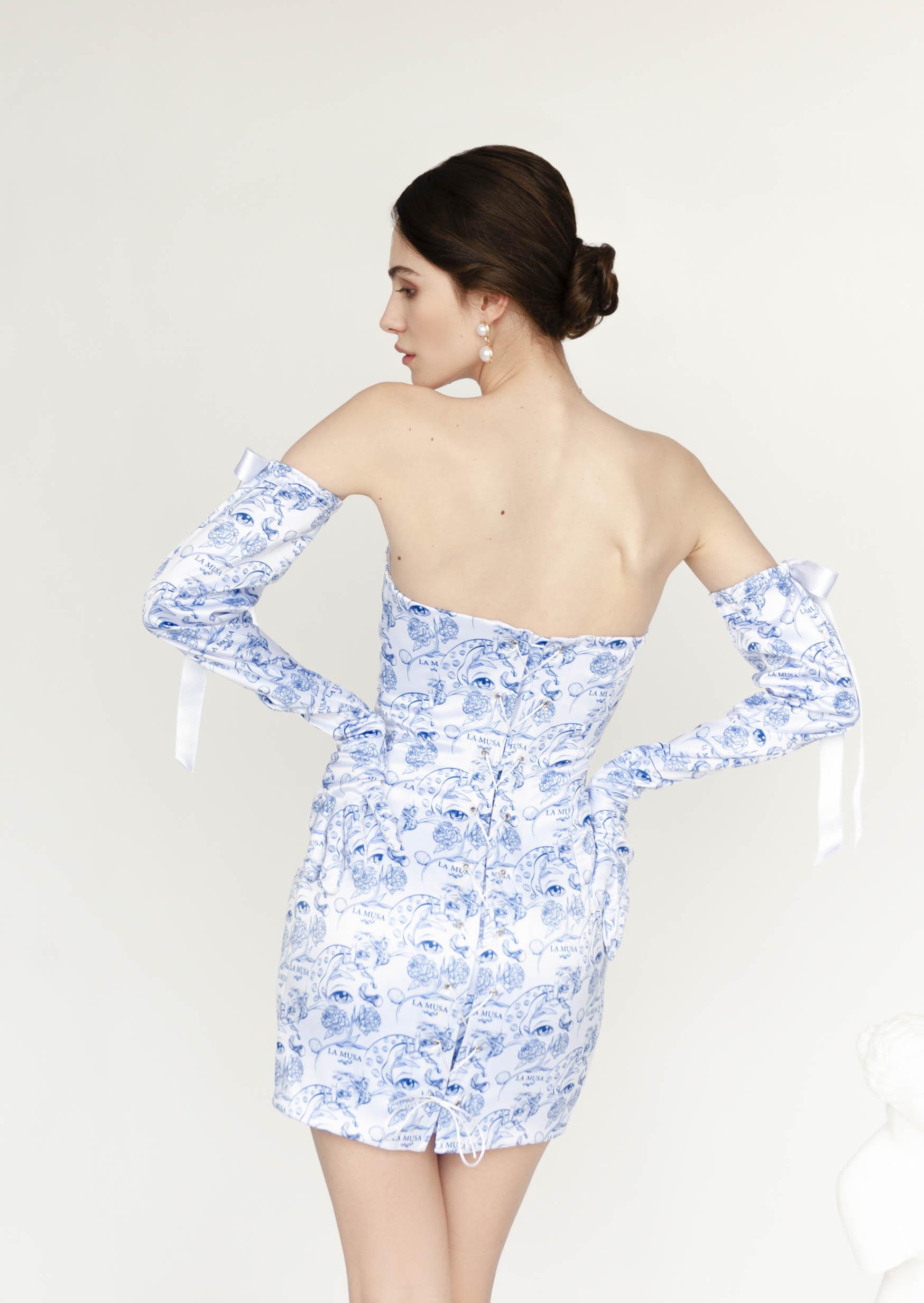 Porcelain doll dress blue corset wedding dress with gloves