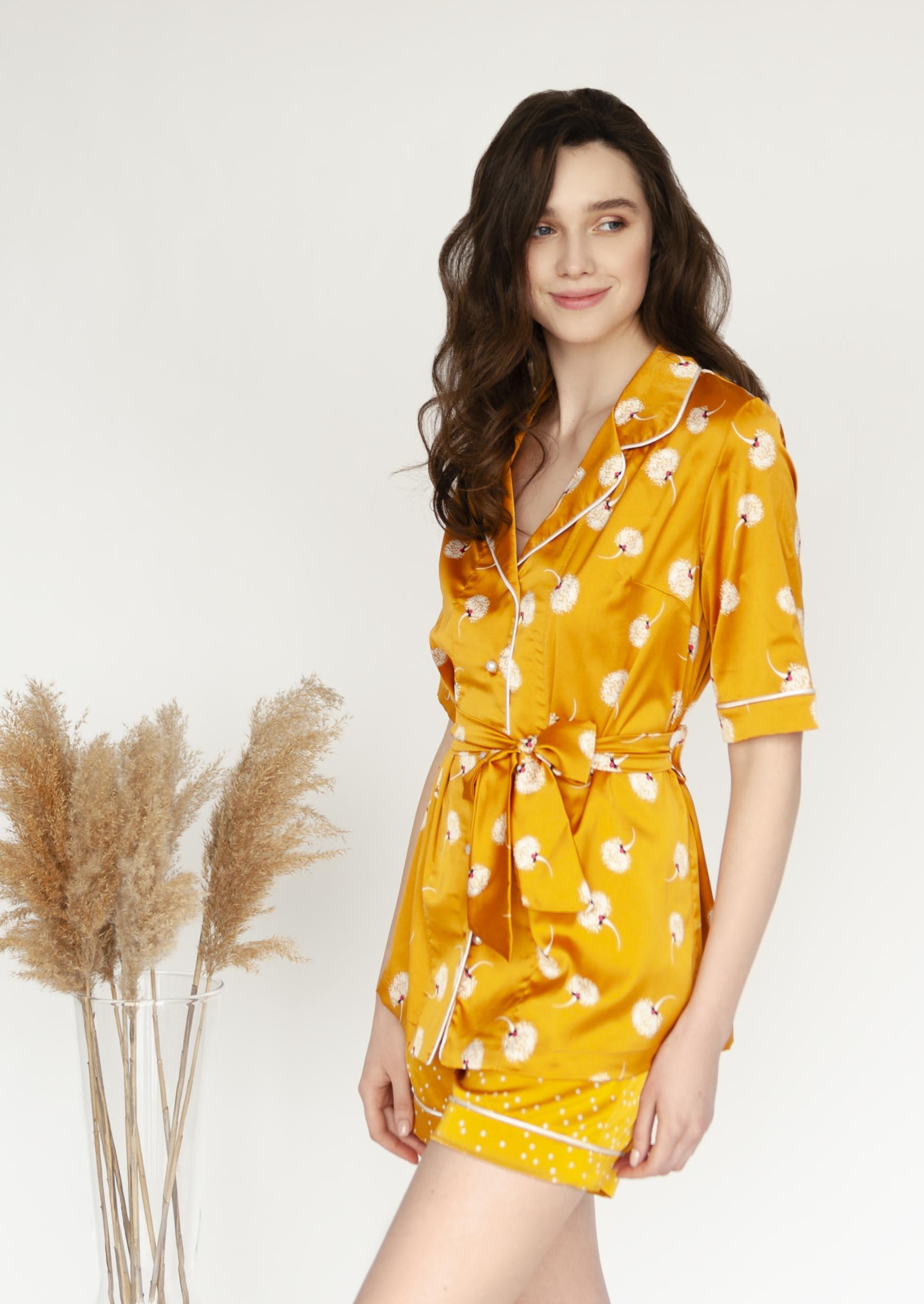 Marigold loungewear set orange satin pajama with buttons