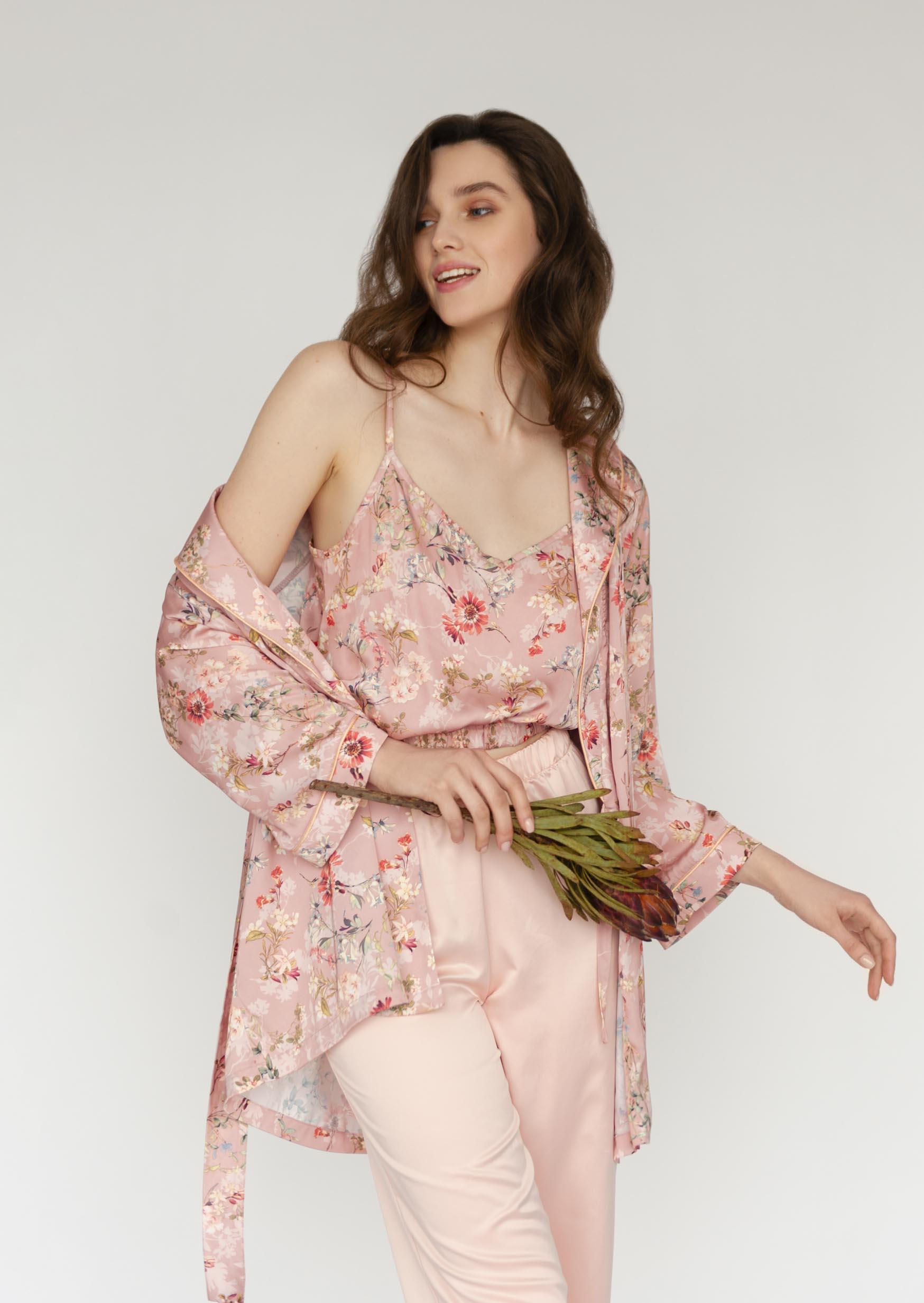 Pink Blossom Kimono Loungewear Set
