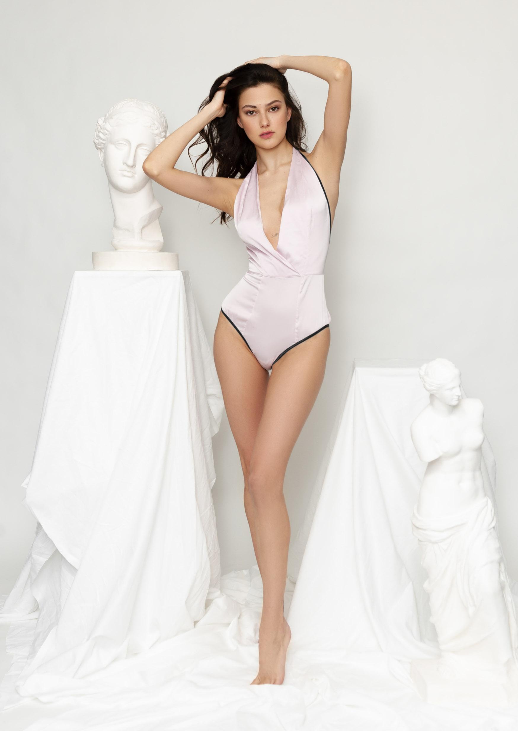 Mermaid body erotic lavender satin cream pure bodysuit