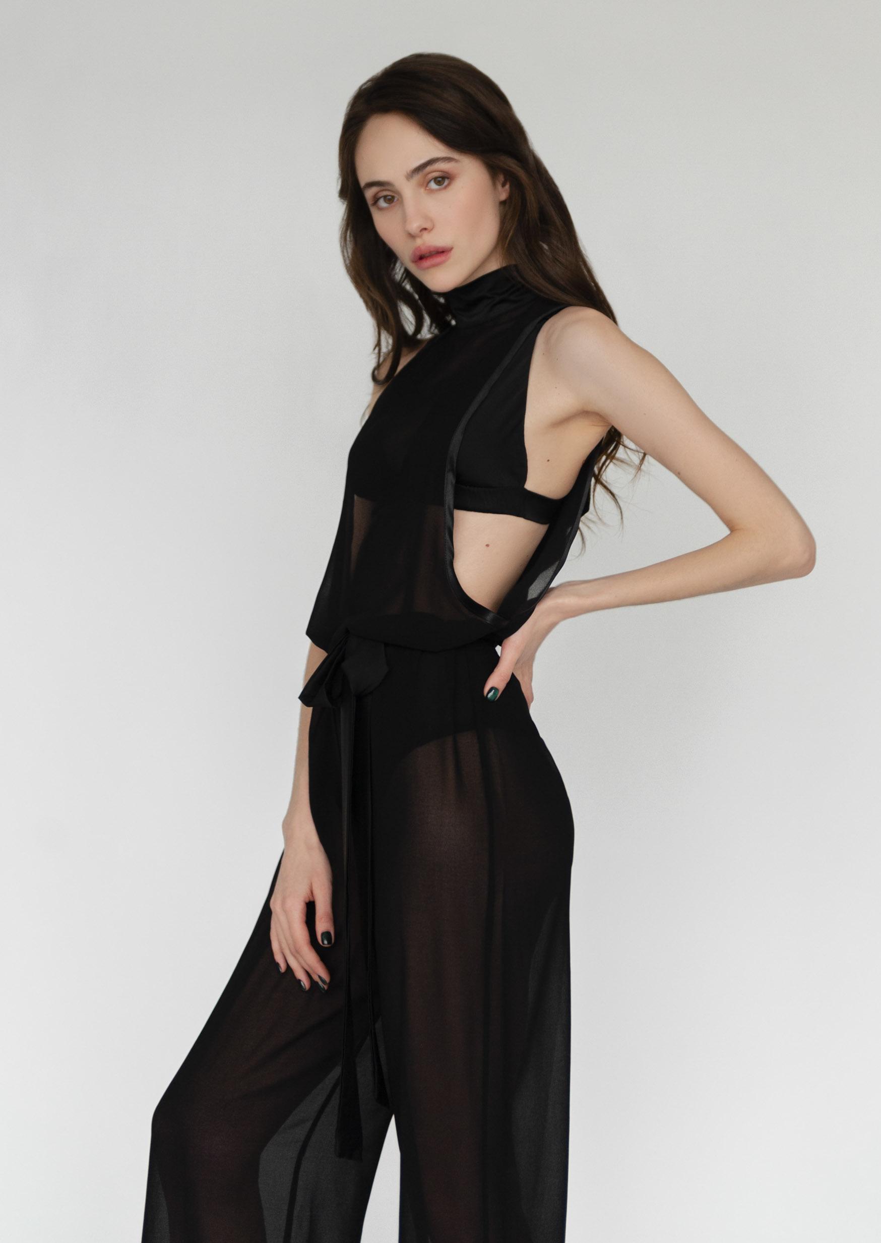 Black soul jumpsuit sheer sleeveless sexy bodysuit with belt
