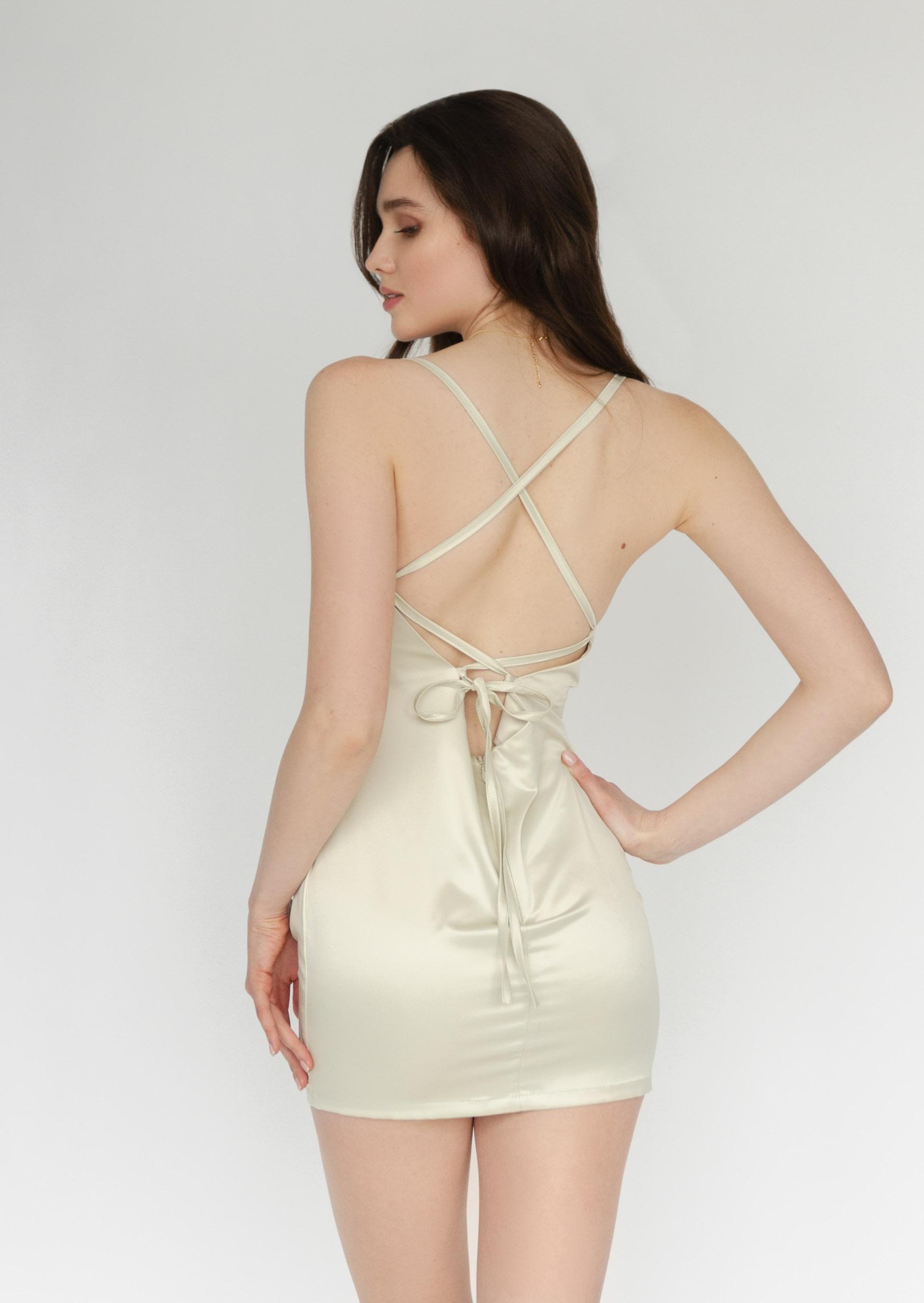 Pistacchio cream dress slip silk short classic silk dress