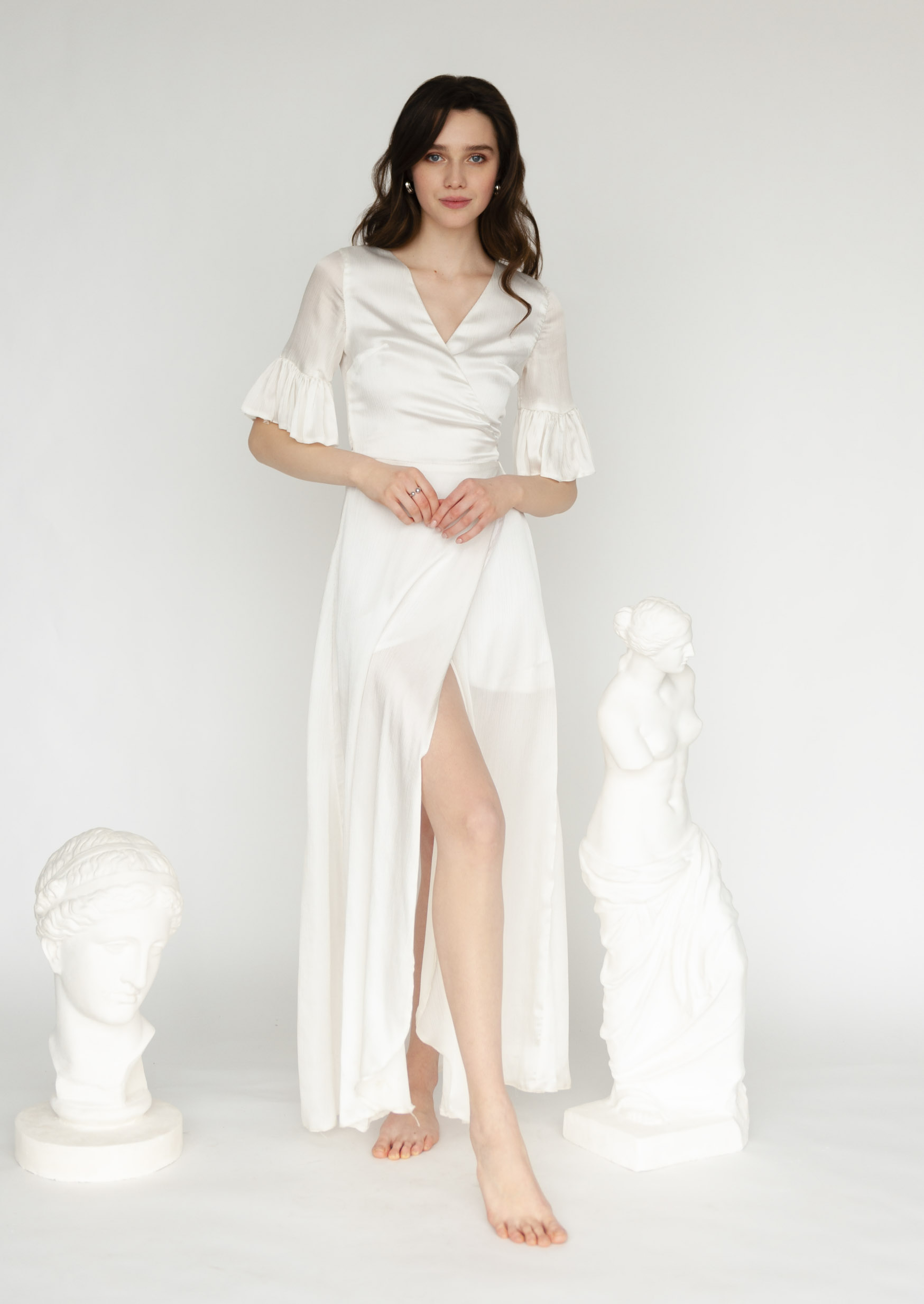 Seashell dress white simple wedding asymmetrical dress