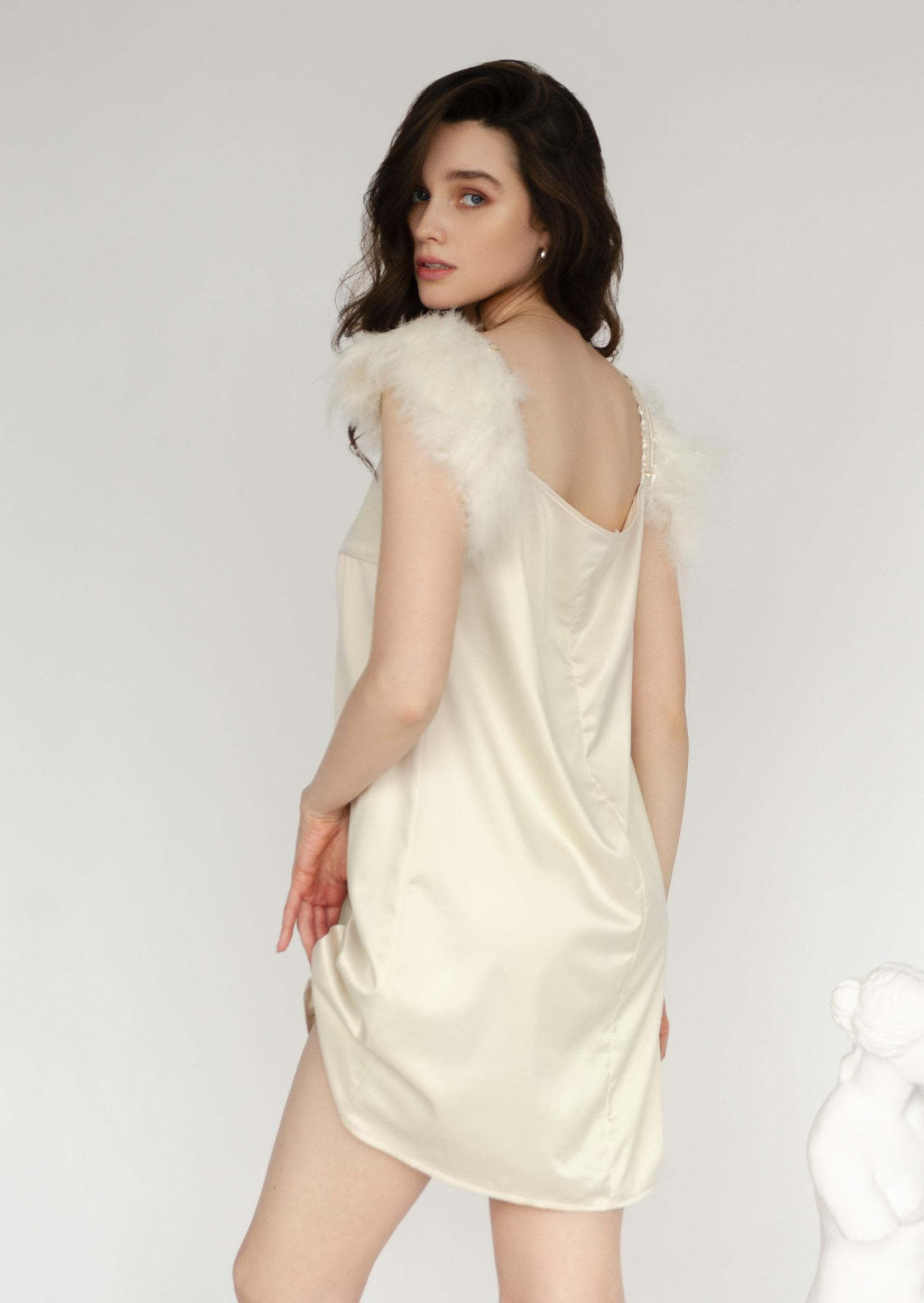 Angel slip dress satin cream romantic slip short classic dress