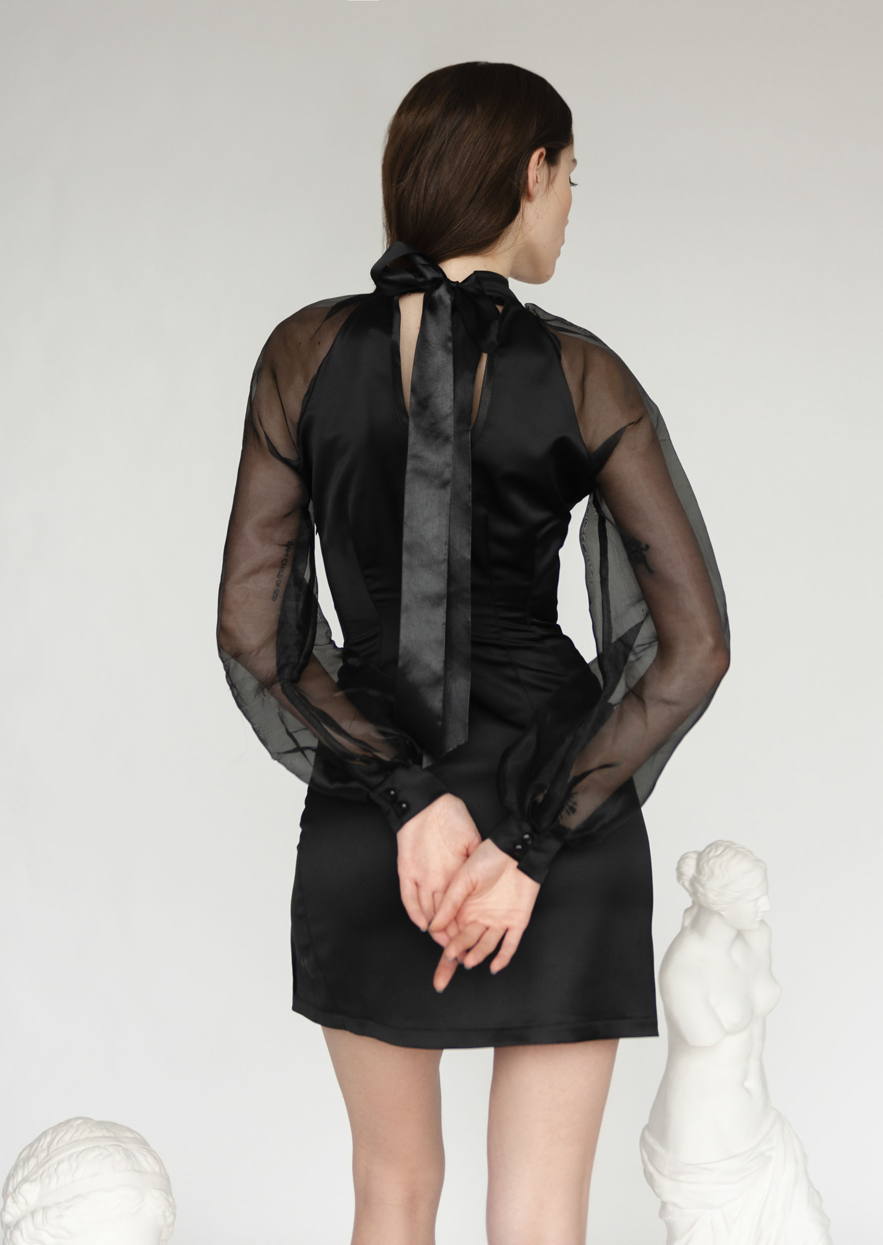 Black ink dress sheer vintage bodycon party bridesmaid dress